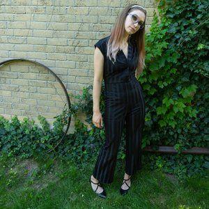 Vintage Nu-Mode Black Silky Jumpsuit